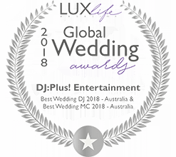 DJ:Plus! Entertainment Awarded Best Wedding MC & Best Wedding DJ Australia