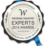 DJ:Plus! Entertainment Winner Best Wedding DJ Sydney, NSW & Australia at 2014 Wedding Industry Experts Awards