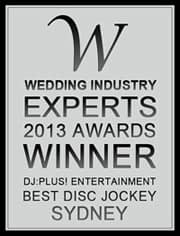DJ:Plus! Entertainment awarded best wedding dj Sydney 2013