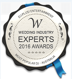 DJ:Plus! Entertainment Winner Best Wedding DJ Sydney, NSW & Australia at 2016 Wedding Industry Experts Awards