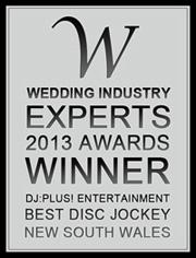 DJ:Plus! Entertainment awarded best wedding dj NSW 2013